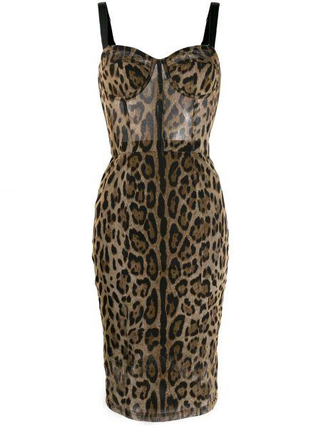 Коричневое тонкое облегающее платье на бретелях на молнии Dolce & Gabbana