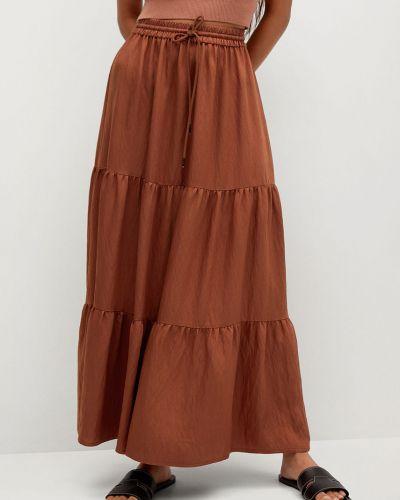 Pomarańczowa spódnica rozkloszowana z falbanami Mango