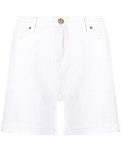 Хлопковые белые с завышенной талией джинсовые шорты 7 For All Mankind