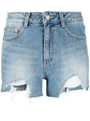 Хлопковые синие джинсовые шорты на молнии Sjyp