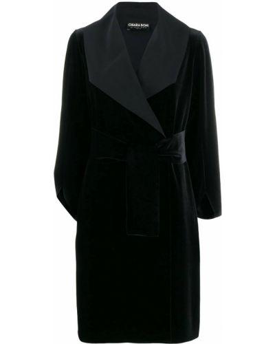 Черное длинное пальто с поясом Le Petite Robe Di Chiara Boni