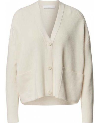 Biały kardigan z dekoltem w serek bawełniany Boss Casualwear