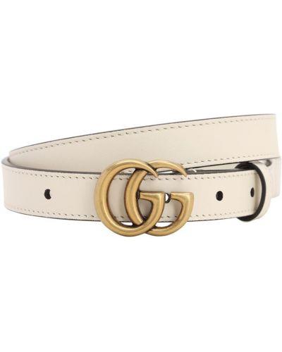 Biały pasek metal z klamrą z paskiem Gucci