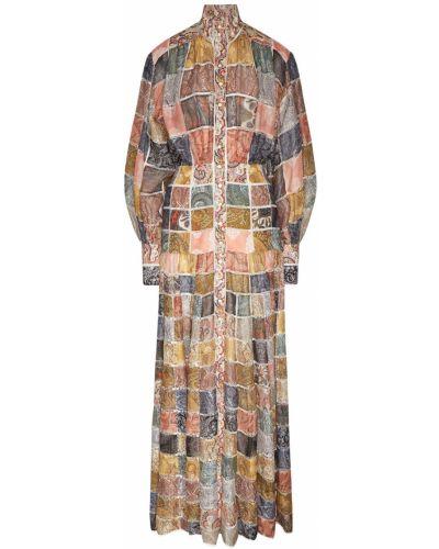 Платье миди на пуговицах пэчворк Zimmermann