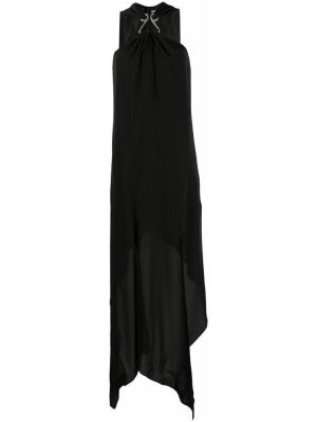 Черное асимметричное платье с открытой спиной без рукавов Olivier Theyskens