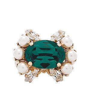 Złoty pierścionek szmaragd pozłacany Anton Heunis