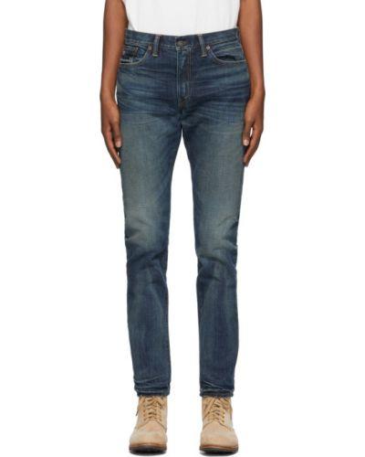 Коричневые кожаные джинсы с вышивкой стрейч Rrl
