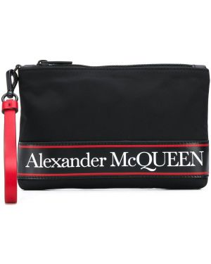 Torba sprzęgło skórzany czarny Alexander Mcqueen