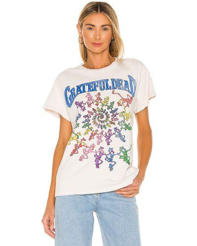 Biały t-shirt bawełniany z printem Madeworn
