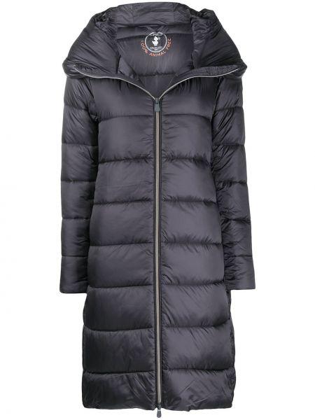 Нейлоновое синее пальто классическое с капюшоном Save The Duck