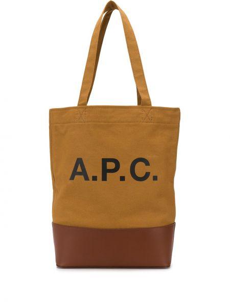 Skórzana torebka na ramię z nadrukiem A.p.c.