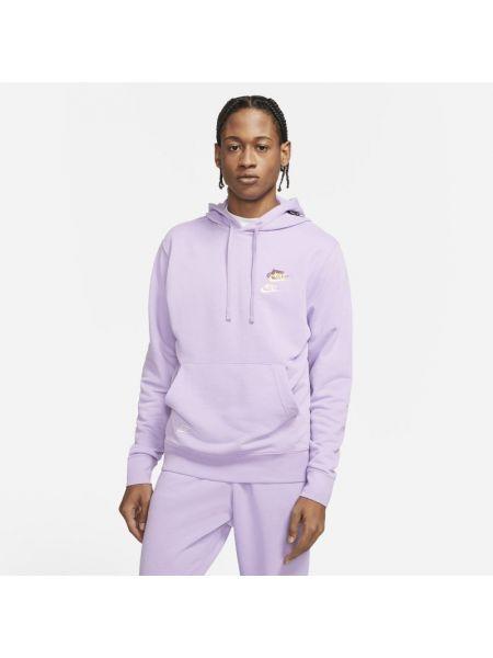 Fioletowa bluza z nadrukiem z kapturem z printem Nike