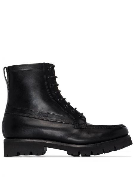 Ажурные черные сапоги без каблука на каблуке на шнуровке Grenson