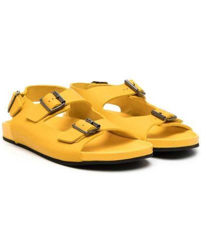 Żółte sandały skorzane peep toe Gallucci Kids