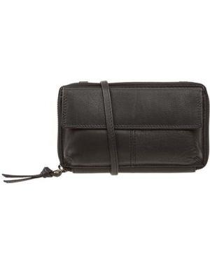 Czarny portfel skórzany z paskiem Treats