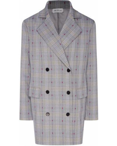 Удлиненный пиджак двубортный в клетку с воротником ли-лу