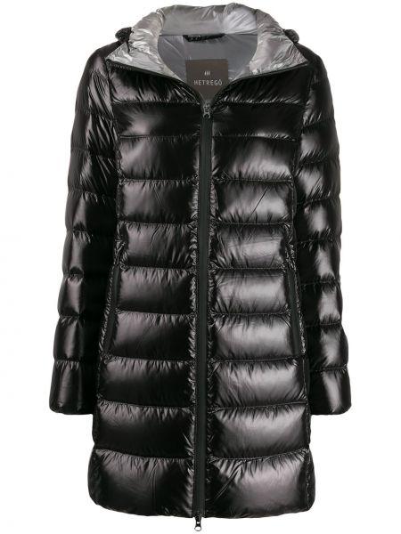 Czarny płaszcz z kapturem z długimi rękawami Hetregò