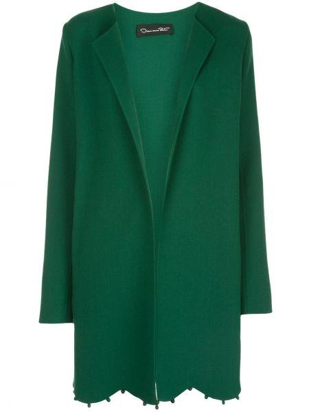 С рукавами шерстяной зеленый удлиненный пиджак в бусинах Oscar De La Renta