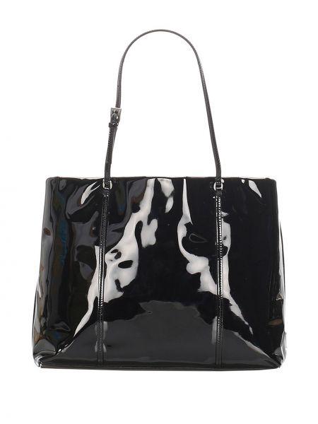 Кожаная лаковая черная сумка-тоут Prada Pre-owned