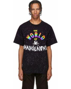 Хлопковая с рукавами черная рубашка с короткими рукавами с воротником Nasaseasons