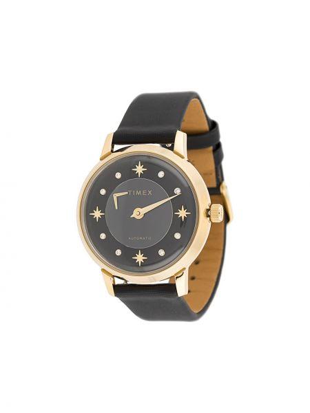 Zegarek na skórzanym pasku szary czarny Timex