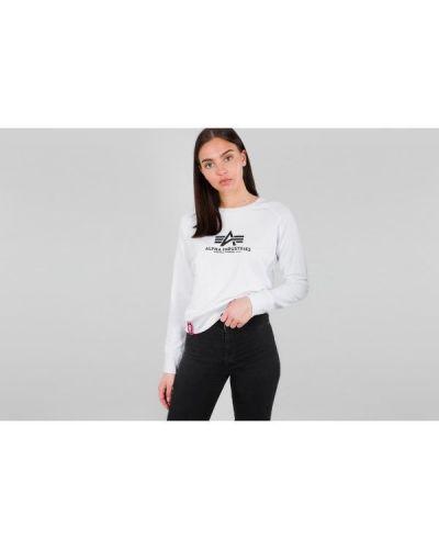 Sweter z printem - biały Alpha Industries