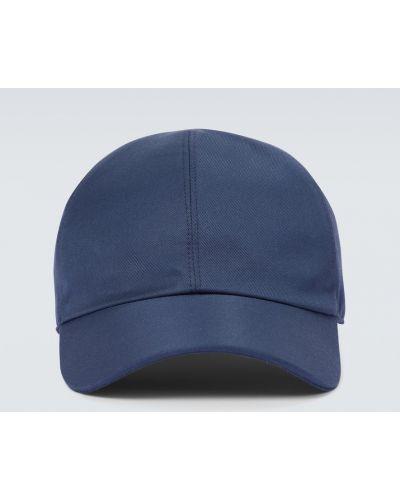 Бейсбольная кожаная синяя бейсболка Loro Piana