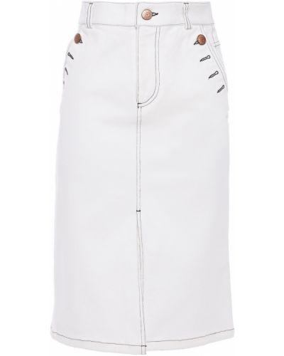 Хлопковая белая джинсовая юбка с поясом See By Chloé