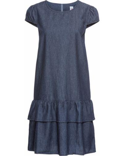 Джинсовое платье с оборками синее Bonprix