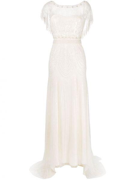 С рукавами свадебное платье прозрачное из фатина Jenny Packham