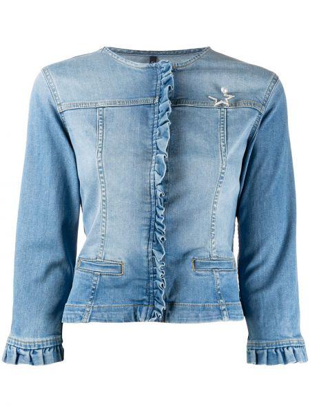 Черная джинсовая куртка круглая с круглым вырезом узкого кроя Liu Jo