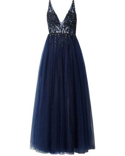 Niebieska sukienka wieczorowa rozkloszowana bez rękawów Mascara