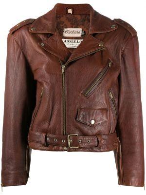 Коричневая кожаная короткая куртка на молнии A.n.g.e.l.o. Vintage Cult
