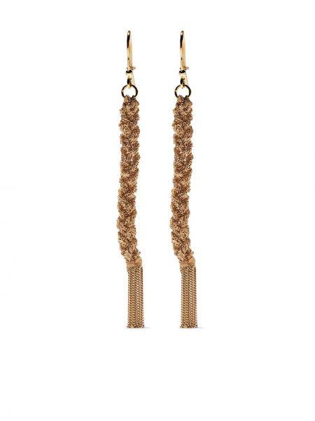 Шелковые желтые золотые серьги с подвесками на крючках Carolina Bucci