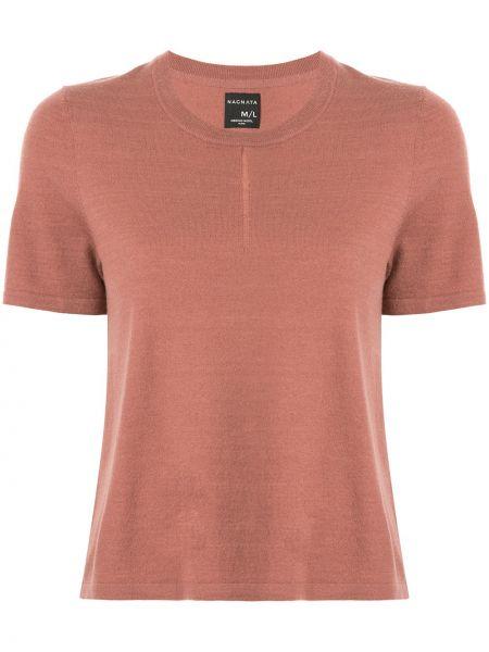 Brązowy t-shirt krótki rękaw wełniany Nagnata