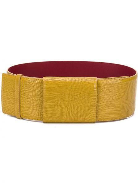 Кожаный желтый широкий ремень свободного кроя с поясом Marni