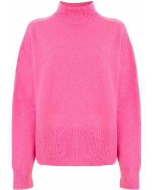 Розовый свитер со спущенными плечами в рубчик Le Ciel Bleu