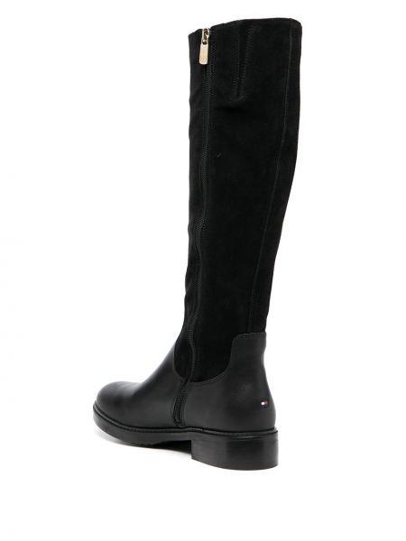 Черные кожаные ботинки на каблуке Tommy Hilfiger