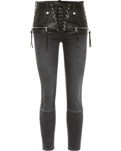 Bawełna czarny skórzany obcisłe dżinsy przycięte Unravel