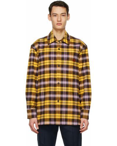 Flanelowa koszula w kratę - żółta Acne Studios