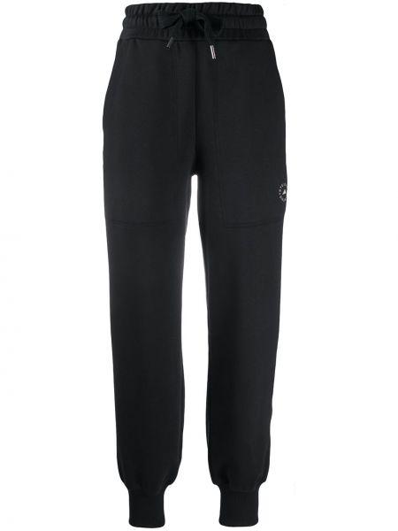 Хлопковые черные зауженные спортивные брюки Adidas By Stella Mccartney