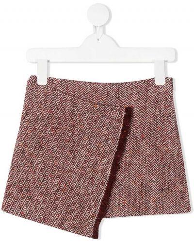 Шерстяная красная юбка мини с бахромой Il Gufo