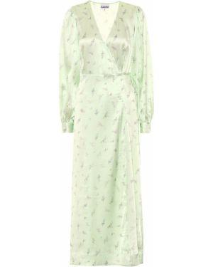 Платье с цветочным принтом мятный Ganni