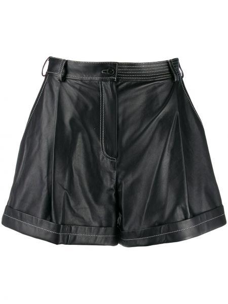 Однобортные черные шорты с карманами на пуговицах Ruban