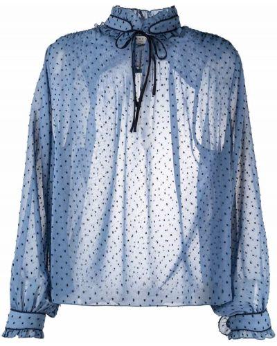 Синяя блузка длинная Sandro Paris