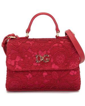 Кружевная красная кожаная сумка Dolce & Gabbana Kids