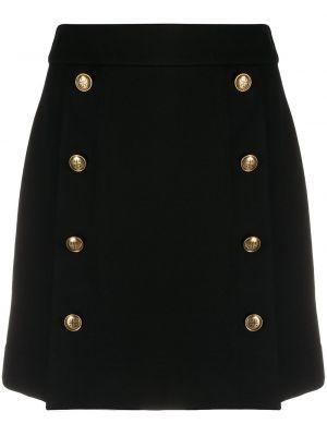 Czarny z wysokim stanem spódnica ołówkowa z wiskozy na przyciskach Givenchy