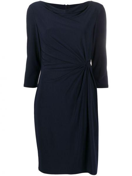 Синее платье на молнии эластичное с вырезом Lauren Ralph Lauren