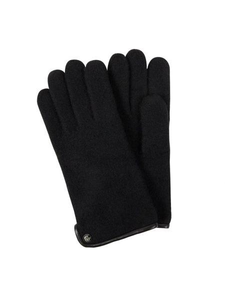Czarne rękawiczki wełniane Roeckl