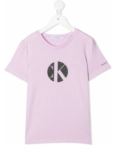 Хлопковая фиолетовая футболка с короткими рукавами Calvin Klein Kids